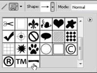 Custom shape drop-down list in PhotoShop.