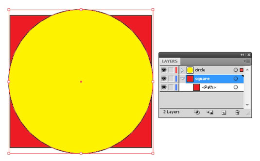 A circle on the new layer overlaps the square on its underlying layer.