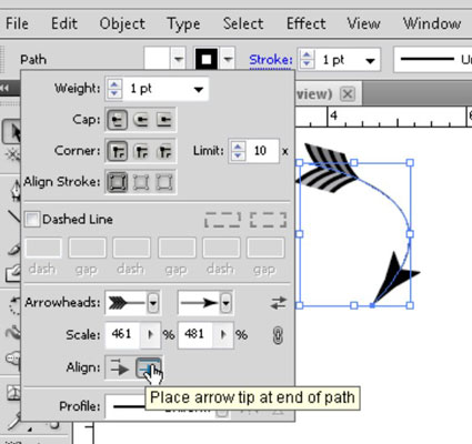 Arrowheads are easy to find and use in the Stroke dialog box.