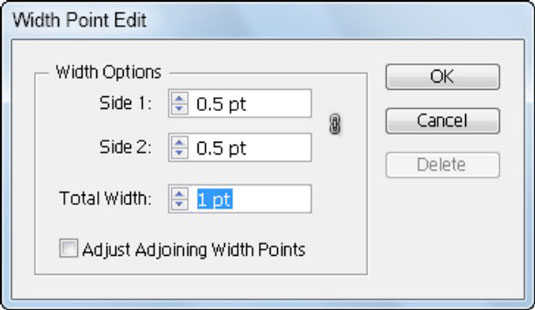 Customize the Width tool in this dialog box.