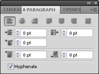 Use this panel to open typographic controls that apply to paragraphs.