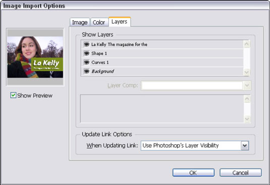 Choose which Photoshop layers you want to use when placing a PSD file into your InDesign layout.