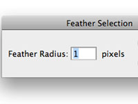The Feather dialog box in PhotoShop CS5.