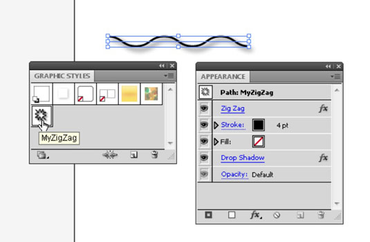 The Graphic Styles panel stores effects and other attributes.