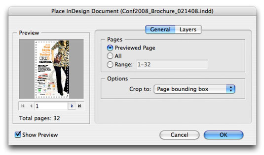 Choose pages to import in the Place InDesign Document dialog box.