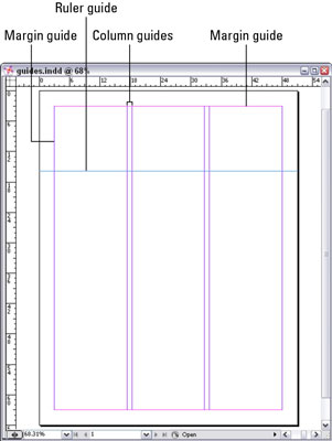 Column guides, margin guides, and ruler guides help create a layout.