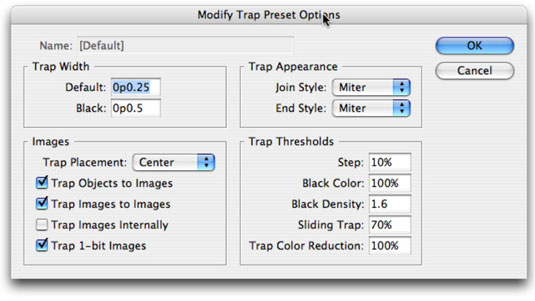 The Modify Trap Preset Options dialog box.
