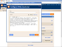 The Configure HTML/JavaScript dialog box in Blogger.