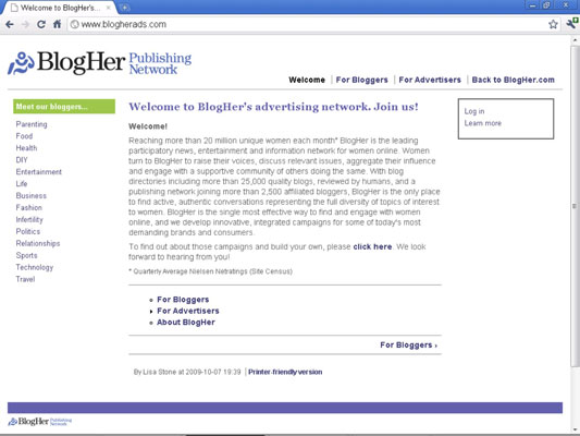 The BlogHer ad network home page.