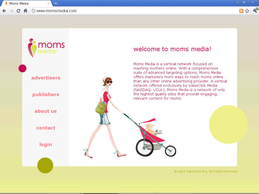 The Moms Media ad network home page.