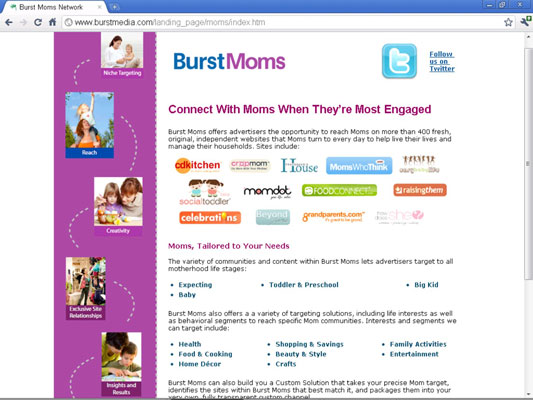 The Burst Moms Network home page.