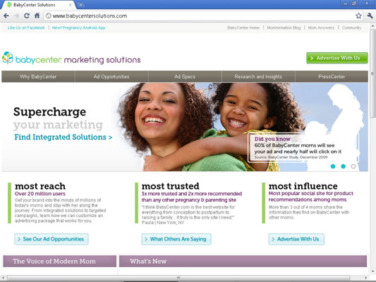 BabyCenter serves as inspiration on how to sell ads professionally.