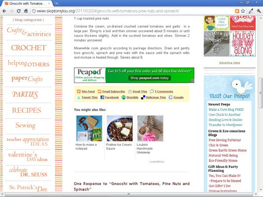 SkipToMyLou below-the-fold ad placement.