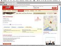 The description page for a business in Yelp.