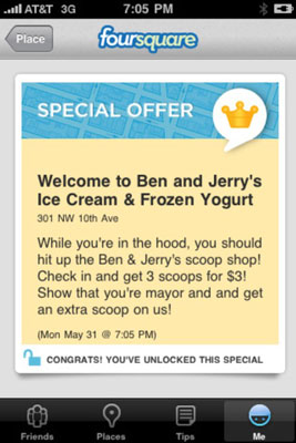 Compelling foursquare offer from Ben & Jerry's.