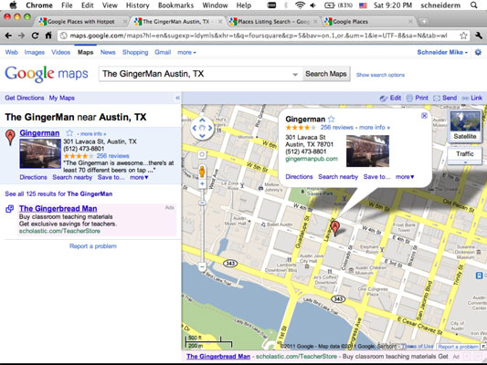 Search Google Maps and get a location-based result. Click the link on the left to go to the associa
