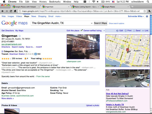 The Austin Ginger Man's Google Places Page.