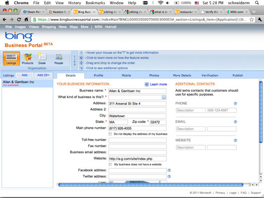 The Bing Business Portal dashboard gives you a great deal of control over your message in Bing Loca