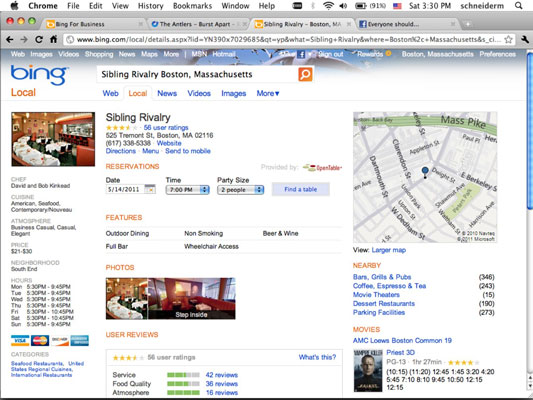 People make reservations through OpenTable through a Bing Places page.