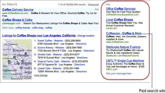 Paid search results for coffee shops on search engine, Bing.