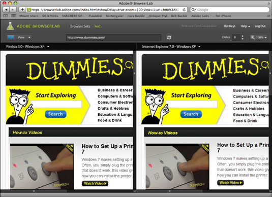 The Dummies.com site shown in BrowserLab as it will appear in Firefox for Windows XP (left) and Int