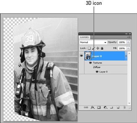 Creating a 3D layer in Photoshop CS5.