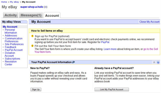 How to Register as an eBay Seller with PayPal - dummies