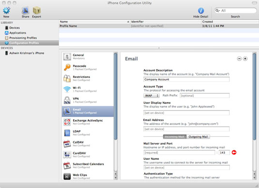 iPhone e-mail profile.