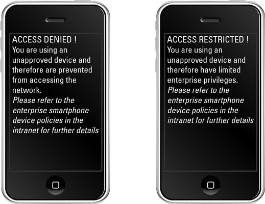 Unapproved device policy screens.
