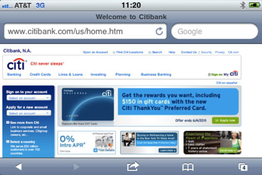An iPhone in landscape mode with no URL obfuscation.