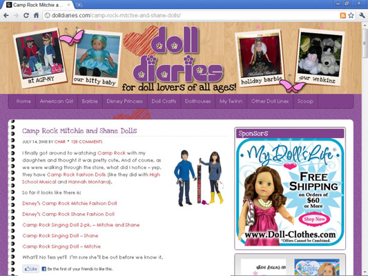 Home screen of the blog Doll Diaries.