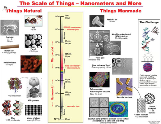 Structure of some key nanoparticles (such as the DNA molecule in the bottom left) and their size in