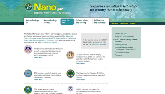 Some of the agencies participating in the National Nanotechnology Initiative.