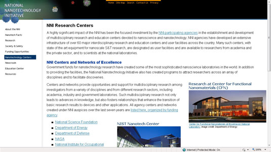 National Nanotechnology Initiative website.
