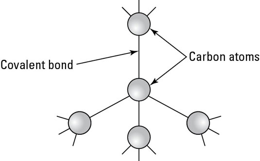 Each carbon atom bonds to four other carbon atoms to form a diamond.