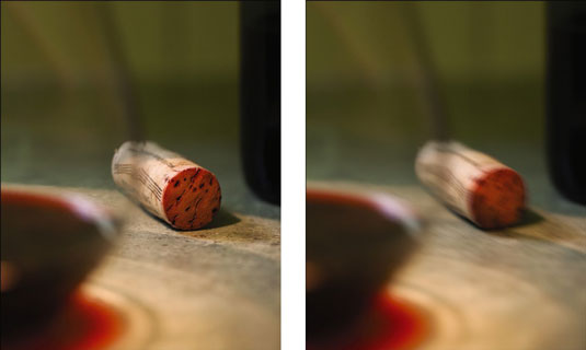 Using a cable release (left) versus a finger on the shutter (right) for long exposures.