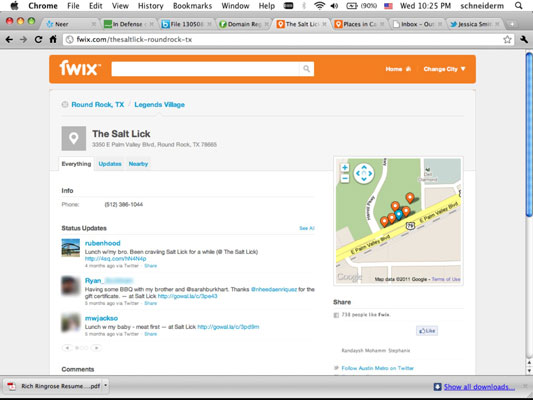 Fwix place page for the Salt Lick aggregates check-ins from Twitter.