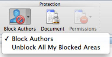 The Block Authors button in the Ribbon at the top of a Word document.