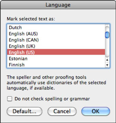 The Language dialog box in Word lets you choose the dictionary language.