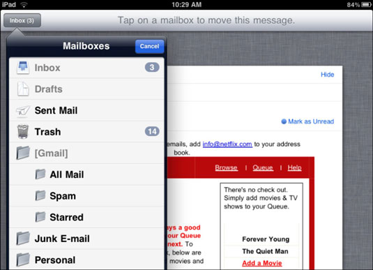 How to set up new folder on ipad email