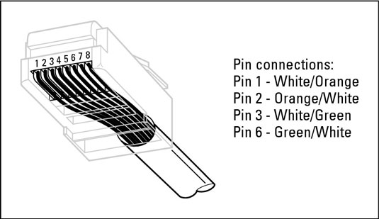 Attaching an RJ-45 connector to twisted-pair cable.