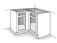 Installing corner cabinets.