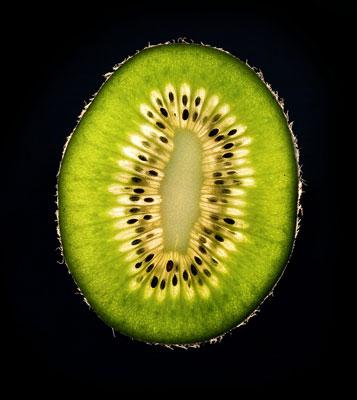 Close-up photograph of a kiwi.