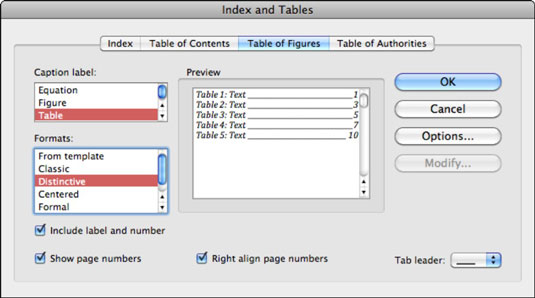 Create a Table of Figures in Word 2011 for Mac - dummies