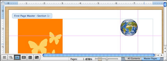 A Master Page in an Office 2011 for Mac Word document.