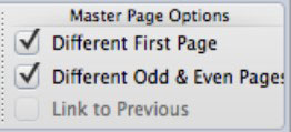 The Master Page Options in the ribbon at the top of a Word document.
