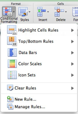 The Conditional Formatting drop-down menu in Excel for Mac.