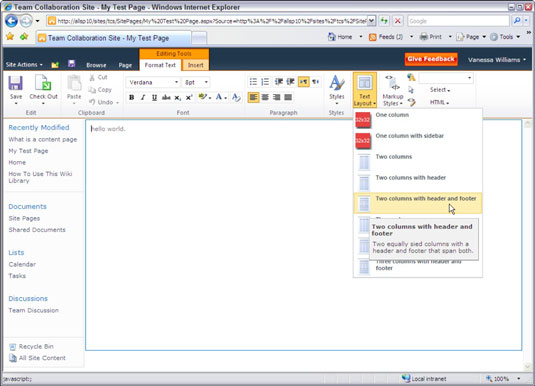 Create A New Wiki Content Page In SharePoint 2010