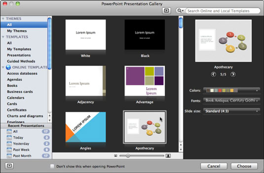 Open the powerpoint presentation gallery in office 2011 for mac the first two themes in the all templates category are white and black themes that you use to start a new blank presentation the rest of the themes and toneelgroepblik Choice Image