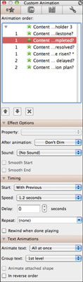 Custom Animation dialog box in PowerPoint for Mac.